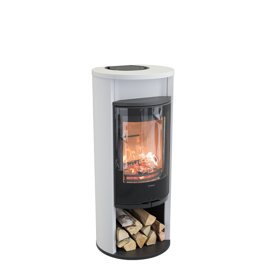 Contura 610G Style, white with warming shelf