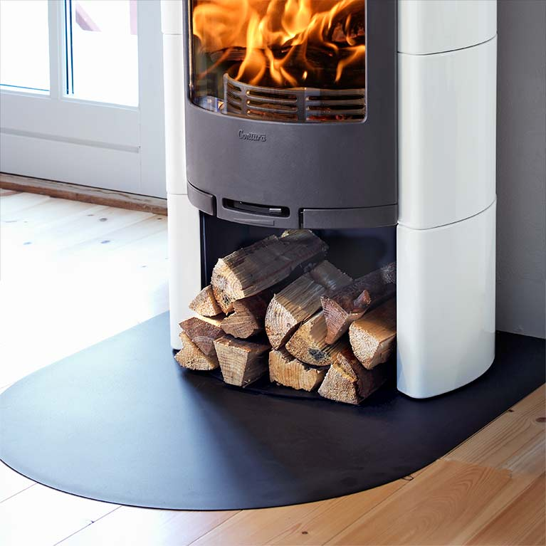 Long floor protector for wood burning stoves