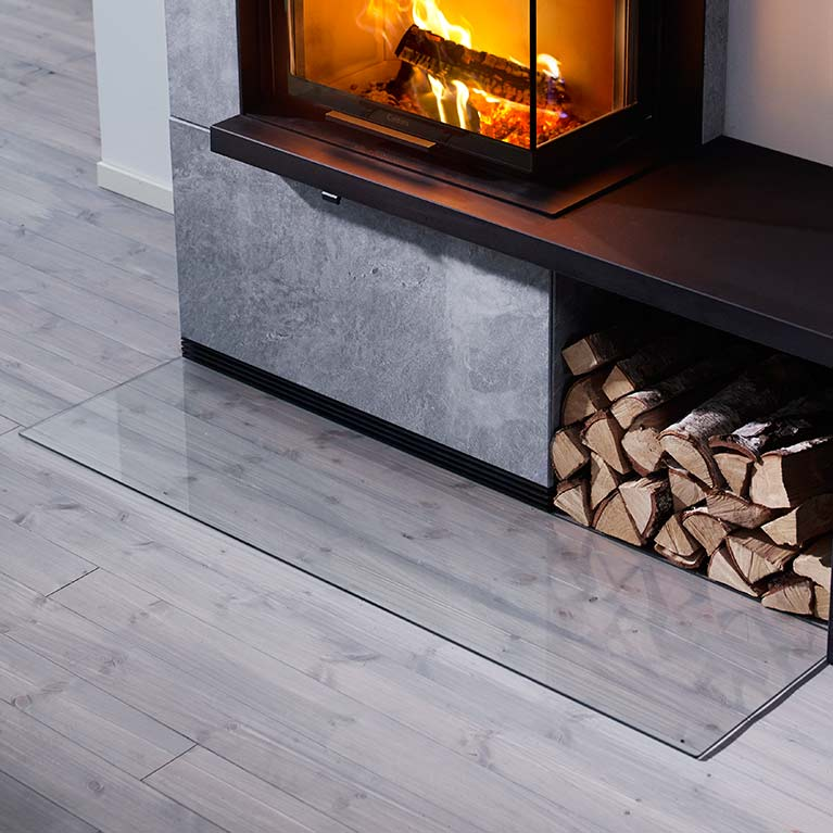 Rectangular floor protector for wood burning stoves