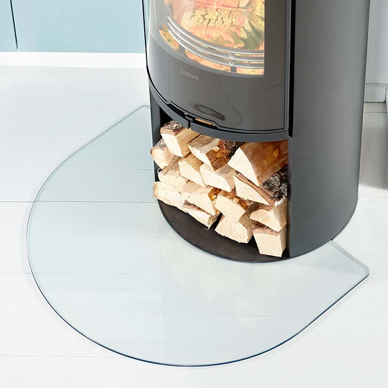 Short floor protector for wood burning stoves