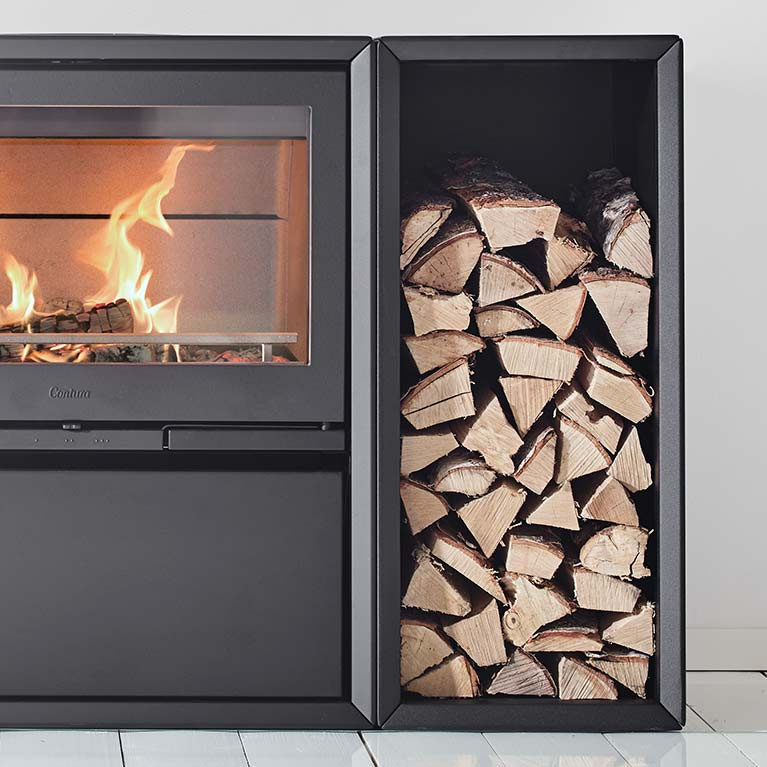 Freestanding log box available for Contura 300 series