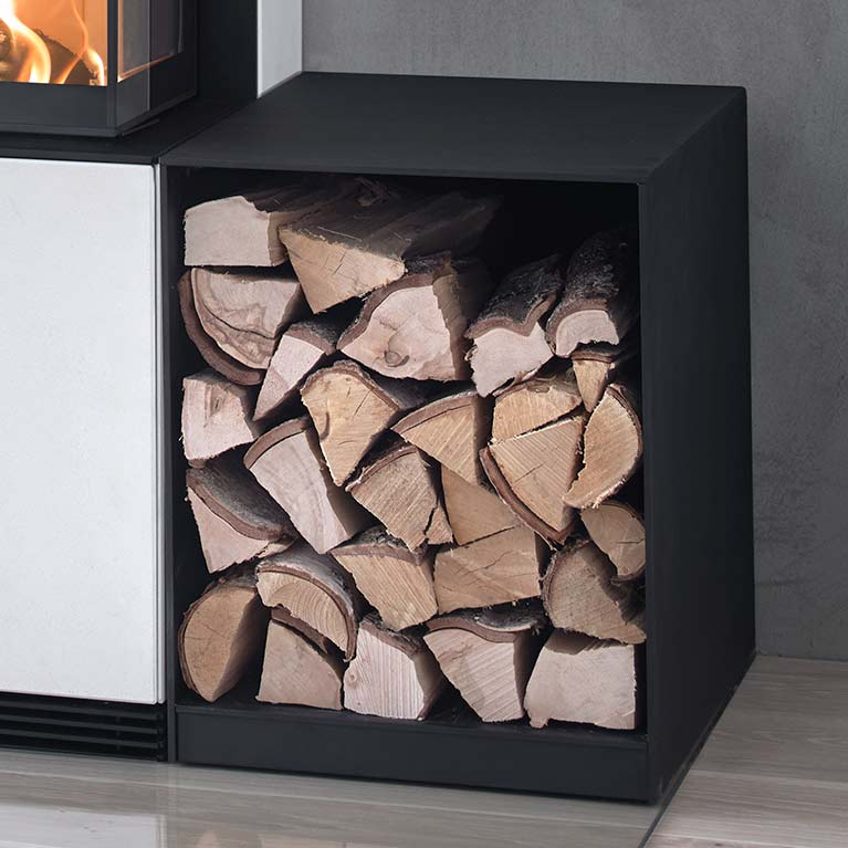 Wood storage that fits the fireplaces in the Contura i51 series