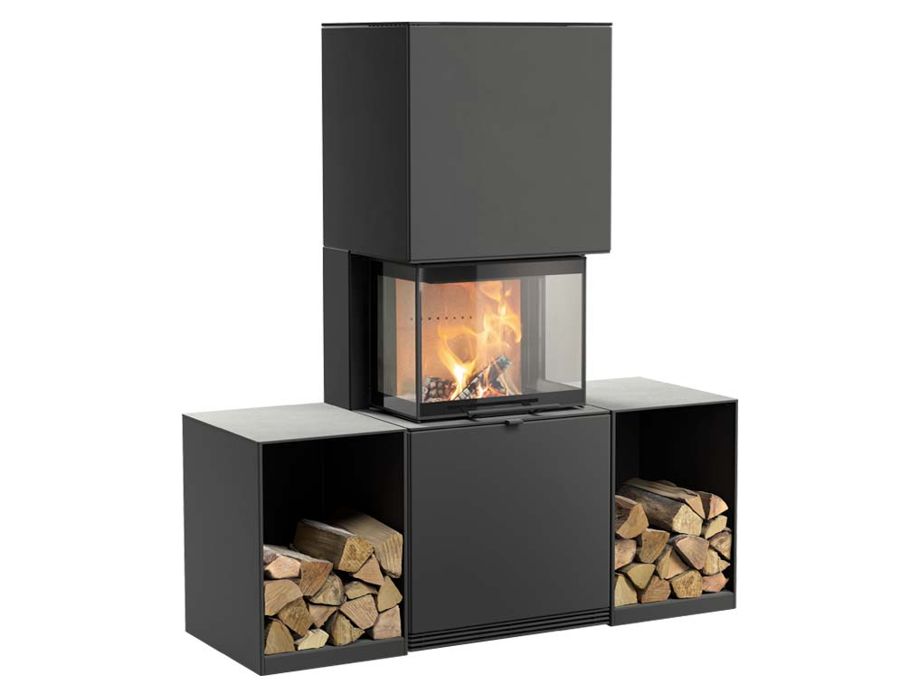 Fireplace Contura i61 with one log box on either side