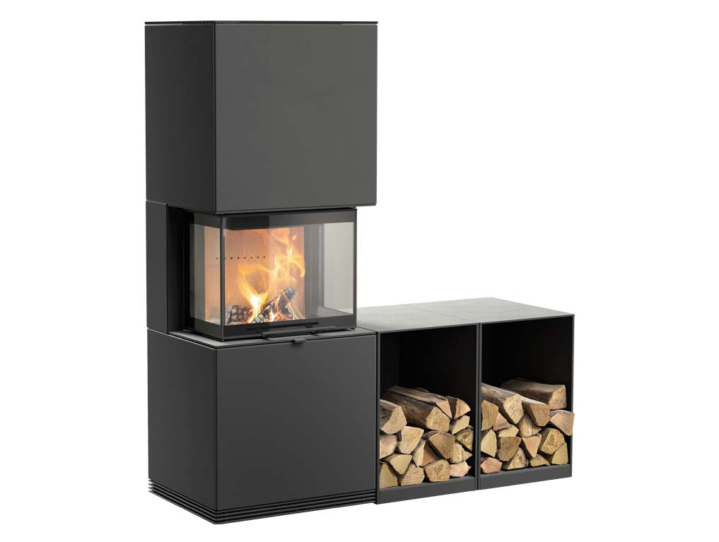 Fireplace Contura i61 with two log boxes side by side